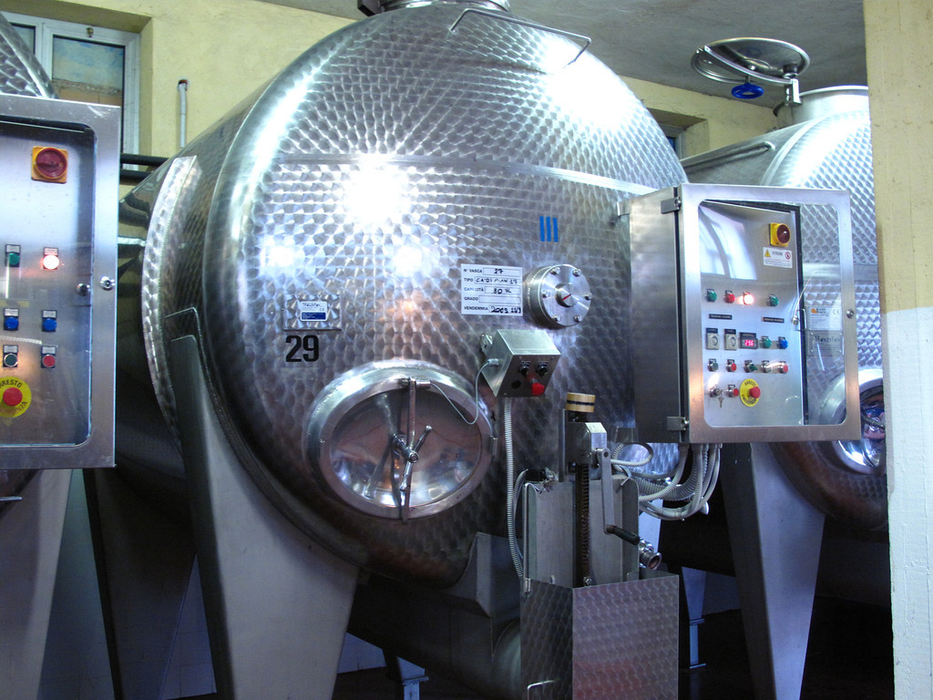 """Next the grapes are fermented for """"x"""" number of days in stainless steel fermentation tanks."""