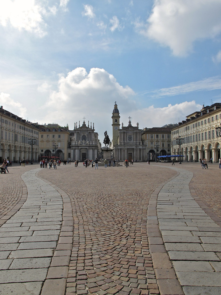 At the end of the Piazza, are two churches, the Church of San Carlo and the Church of Santa Cristina.