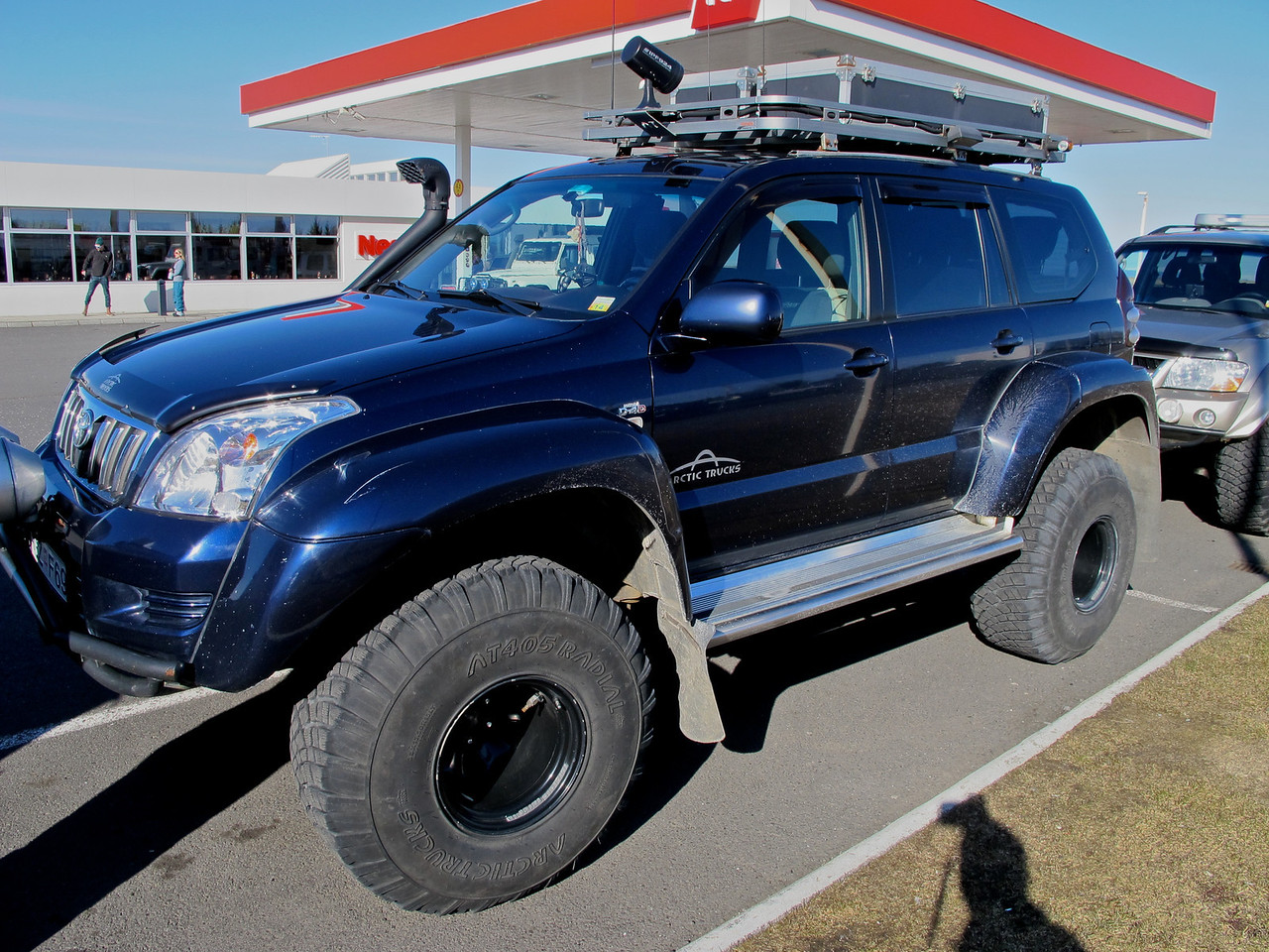 """We're in our specialized Toyota Arctic Truck conversion.  It's specially outfitted to go just about anywhere in the backcountry of Iceland.<br /> <br /> The large """"snorkel"""" on the passenger front side is so the engine can breathe, should we go into the water."""