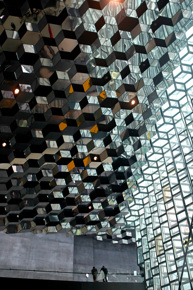 A look at the interior lobby of the Harpa Opera House.