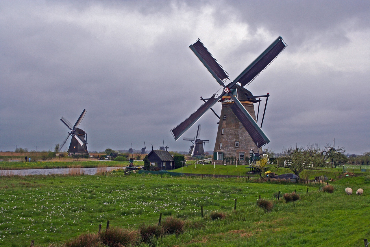 The mills drain the excess water from the Alblasserwaard polders - which are situated below sea-level - after which the water is sluiced into the river Lek (the Rijn).