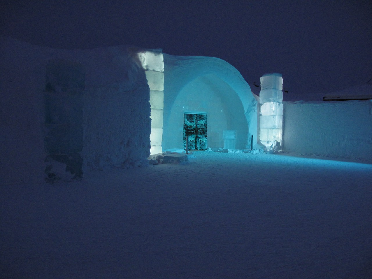 Ice Hotel entrance at night.