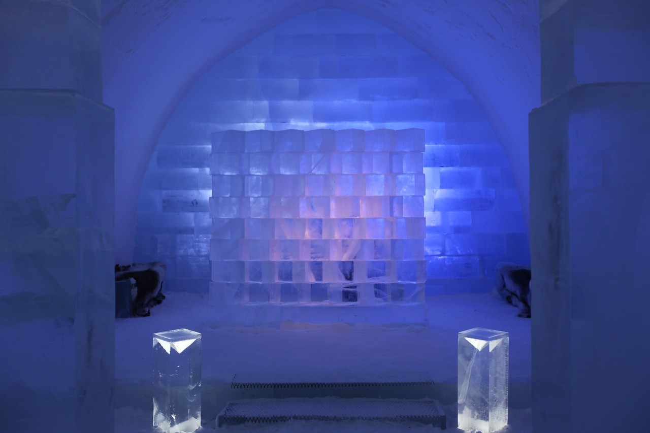 At the opposite end of the Ice Hall is an ice cube wall and benches that change color.