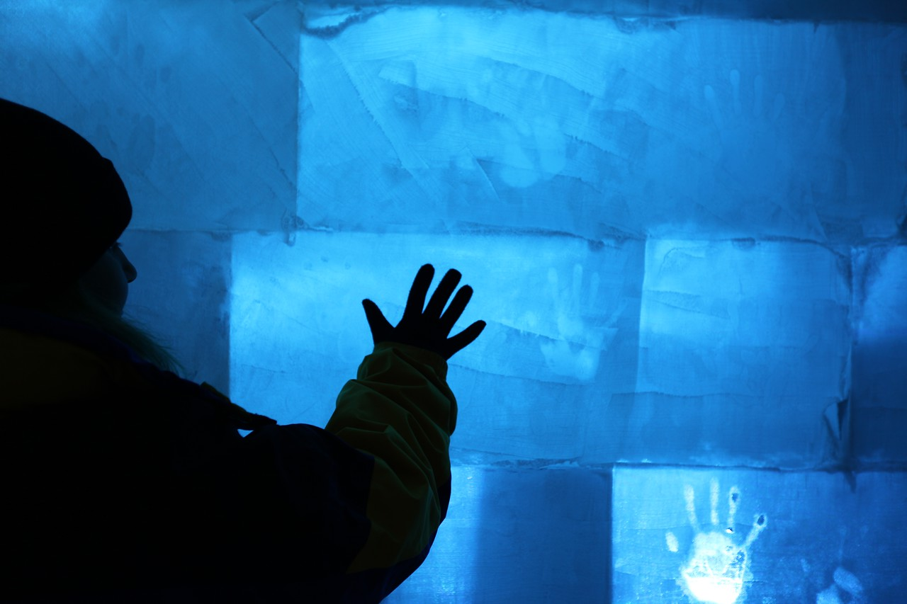 If you touch the ice walls with you're bare hands for a minute or two, you can leave your hand print on the iceblock.