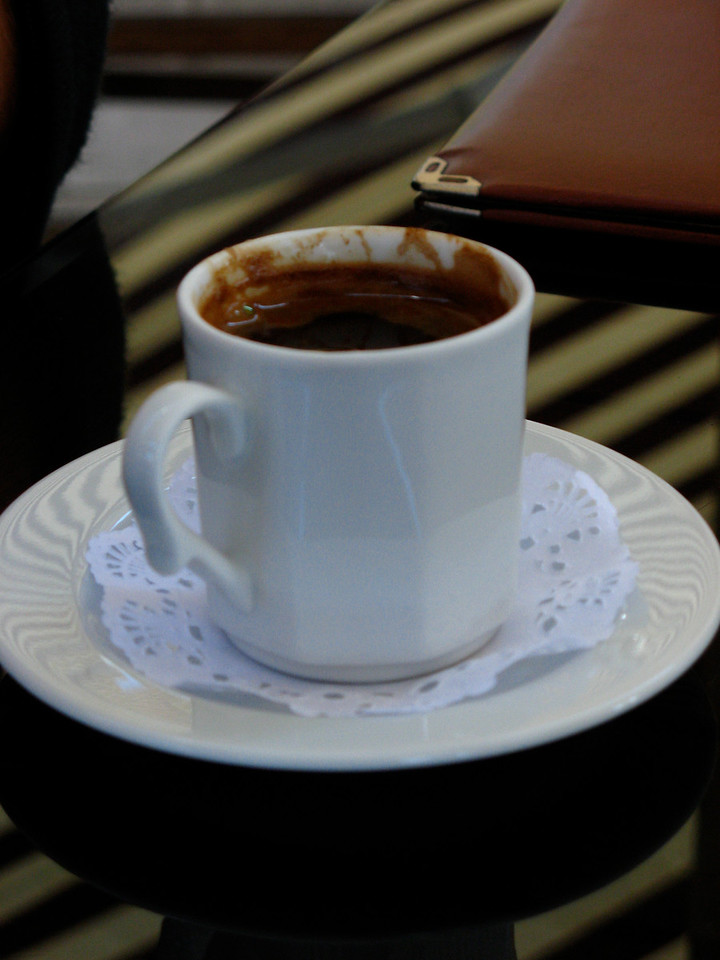 ..traditional Turkish coffee can be just a little strong, if not thick.