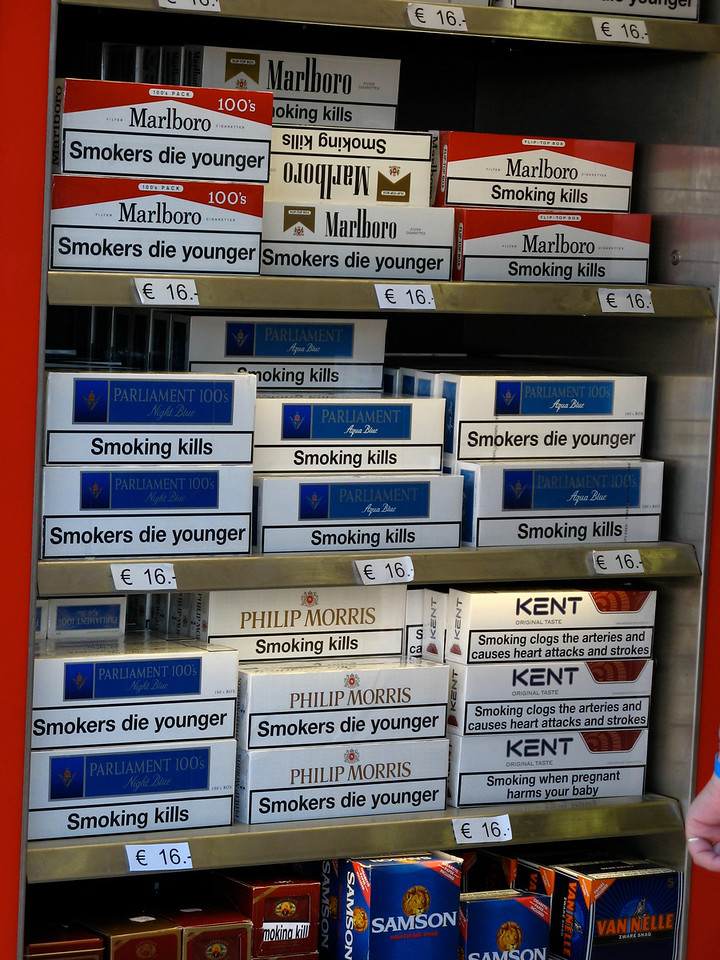 EU rules require very plan labeling on all cigarette boxes about the health threat of smoking.