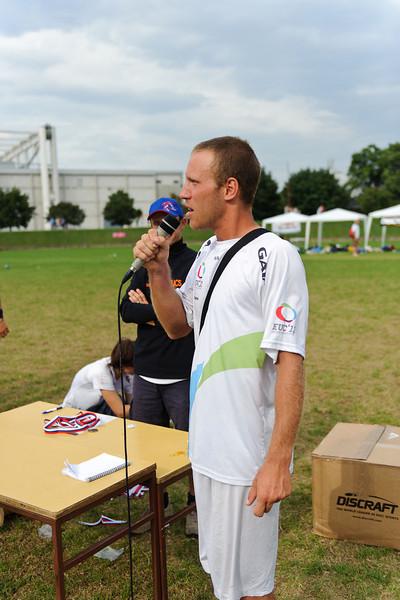 EUC2011, Maribor Slovenia.<br /> Award Ceremony.<br /> Tournament Director Speech.<br /> PhotoId :2011-08-06-1965