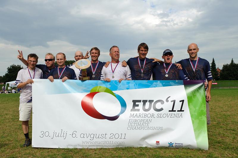 EUC2011, Maribor Slovenia.<br /> Award Ceremony. Master Division.<br /> 2nd. Silver Medal  : Finland<br /> PhotoId :2011-08-06-1795