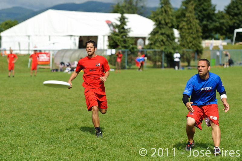 EUC2011, Maribor Slovenia.<br /> France vs Denmark. Pre-Quarterfinals. Open Division<br /> PhotoId :2011-08-04-0054