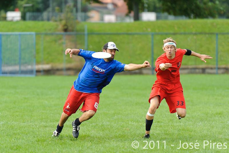 EUC2011, Maribor Slovenia.<br /> France vs Denmark. Pre-Quarterfinals. Open Division<br /> PhotoId :2011-08-04-0008