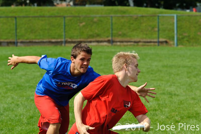 EUC2011, Maribor Slovenia.<br /> France vs Denmark. Pre-Quarterfinals. Open Division<br /> PhotoId :2011-08-04-0060
