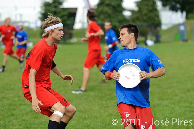 EUC2011, Maribor Slovenia.<br /> France vs Denmark. Pre-Quarterfinals. Open Division<br /> PhotoId :2011-08-04-0034