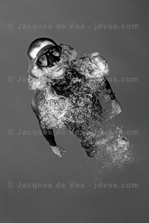 Expanding Air<br /> <br /> Rémy Dubern ascending from a dive...<br /> <br /> Ikelite 7D Housing (8'' Dome Port)<br /> Ikelite DS-161 Strobes