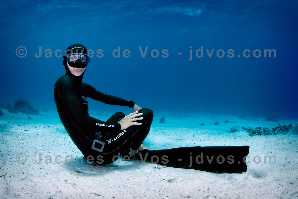 Aquatic Recline<br /> <br /> Stefan Randig (Record German Freediver) at Coral Garden - Dahab, Egypt<br /> <br /> Ikelite 50D Housing (8'' Dome Port)<br /> Ikelite DS-160 Strobes