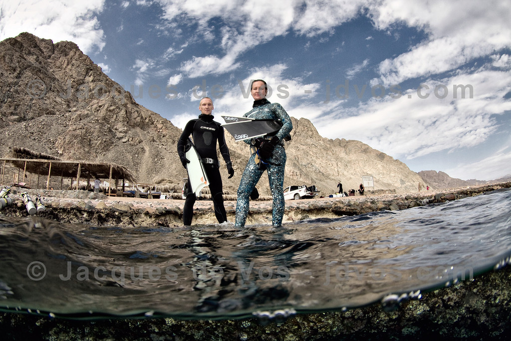 Record Freedivers (Diving 'The Caves')<br /> <br /> German freedive record holder Stefan Randig and Italian freedive record holder Linda Paganelli before a dive at 'The Caves' towards the south of Dahab...<br /> <br /> Ikelite 7D Housing (8'' Dome Port)<br /> Ikelite DS-161 Strobes
