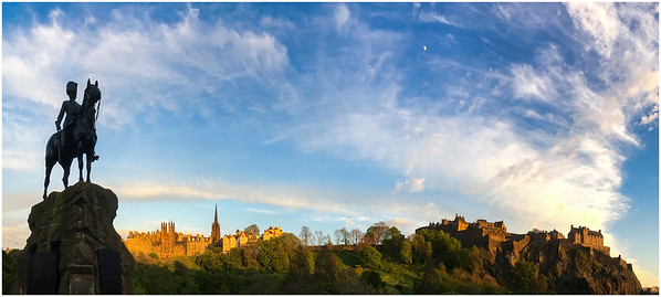 EDINBURGH - FIRST NIGHT PANORAMA WITH MOON