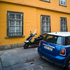 Vehicles parked on street, Buda's Castle District, Budapest, Hungary