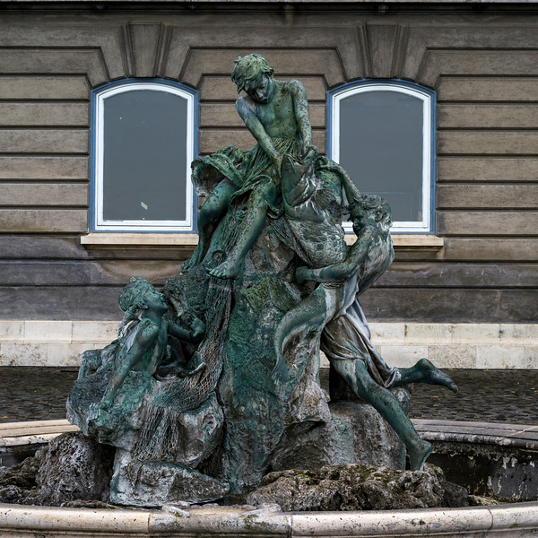 Sculpture of young fishermen at Buda Castle, Budapest, Hungary