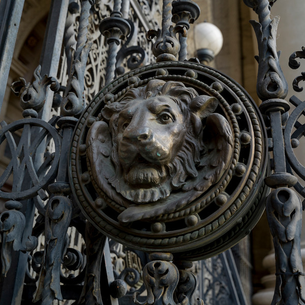 Carving on the metal grate of St. Stephen's Basilica, Budapest, Hungary