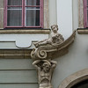 Statues carved on exterior wall of castle, Buda Castle, Budapest, Hungary