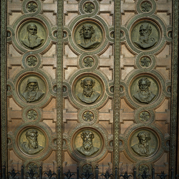Carving on the door of St. Stephen's Basilica, Budapest, Hungary