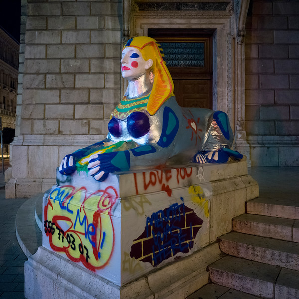 Sphinx statue outside, Hungarian State Opera House, Budapest, Hungary