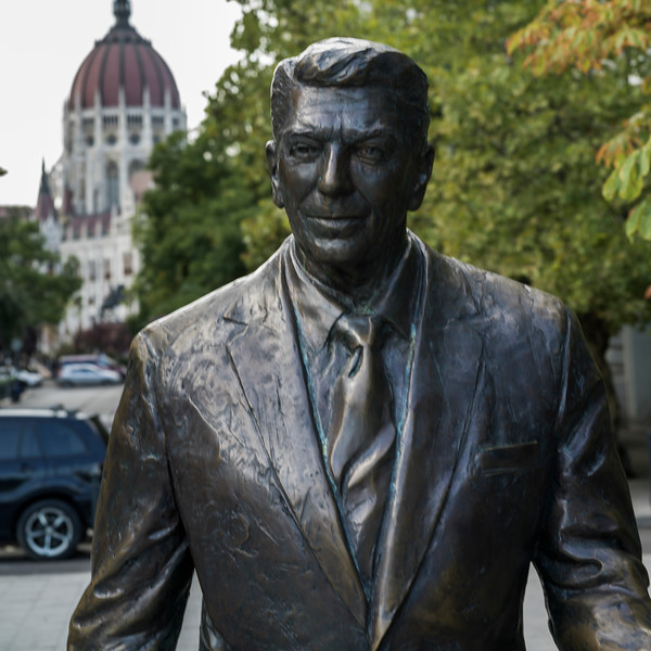 Ronald Reagan Monument in Freedom Square, Budapest, Hungary