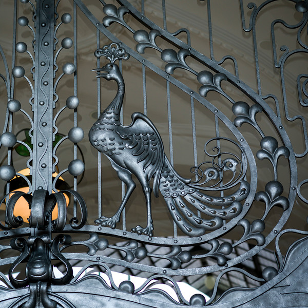 Close-up of metallic ornate gate, Budapest, Hungary