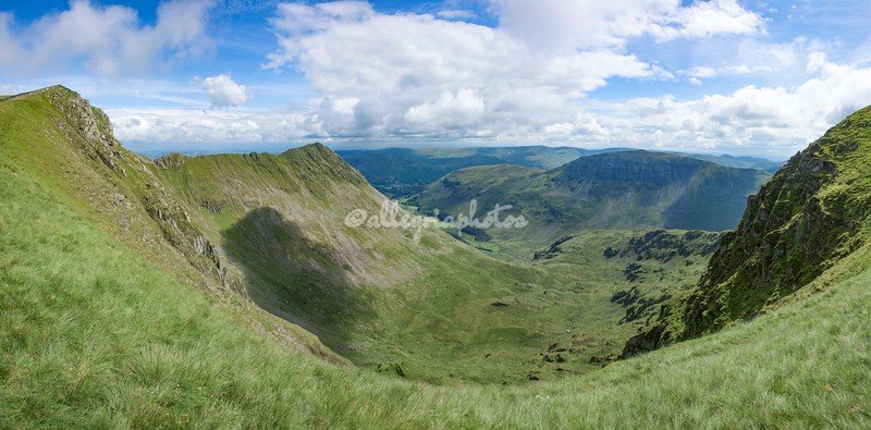 Panoramic View from below Helvellyn Peak and Striding Edge, Cumbria, England