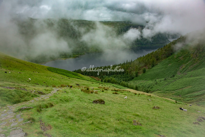 Overview of Lake Thirlmere in the mist, Cumbria, England
