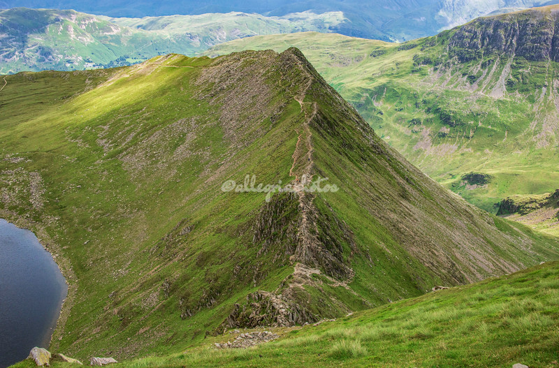 Looking down on Striding Edge, Helvellyn, England
