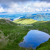 Overview from Helvellyn with Red Tarn in foreground, Cumbria, England