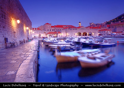 Europe - Croatia - Dubrovnik - Pearl of the Adriatic - Old Mediterranean city on the Adriatic Sea coast in the extreme south of Croatia - UNESCO World Heritage Site - Dusk - Dawn - Twilight - Blue Hour - Night