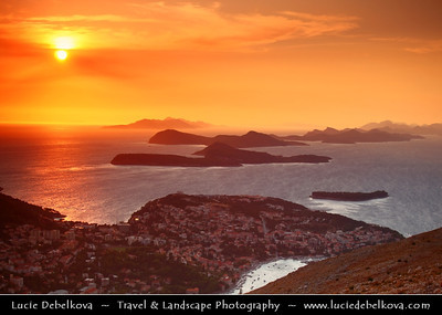 Europe - Croatia - Dubrovnik - Pearl of the Adriatic - Old Mediterranean city on the Adriatic Sea coast in the extreme south of Croatia - UNESCO World Heritage Site - Sunset over Nearby Islands