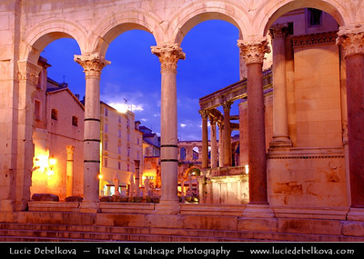 Europe - Croatia - Split - Mediterranean city on the eastern shores of the Adriatic Sea, centred around the ancient Roman Palace of the Emperor Diocletian - UNESCO World Heritage Site - Dusk - Twilight - Night