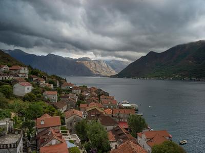 Elevated view of Perast town, Bay of Kotor, Montenegro