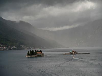 Elevated view of island in the bay, Ostrvo Sveti Dorde, Perast, Bay of Kotor, Montenegro