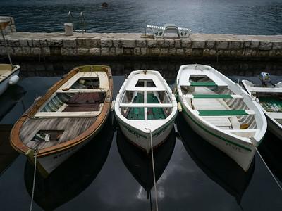 High angle view of boats moored at port, Perast, Bay of Kotor, Montenegro