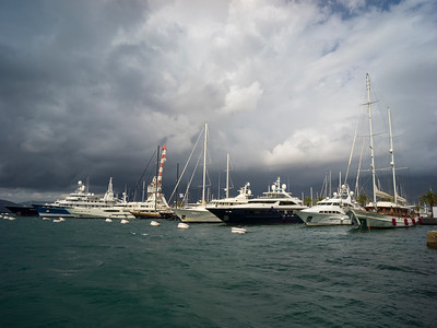 Boats moored at a harbor, Porto Montenegro, Bay of Kotor, Montenegro