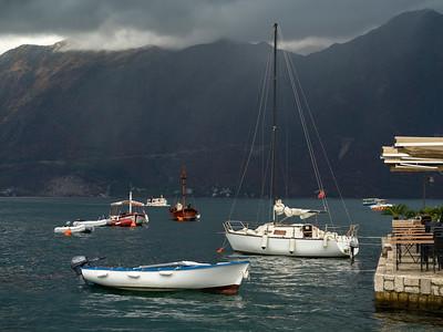 Boats in bay, Perast, Bay of Kotor, Montenegro