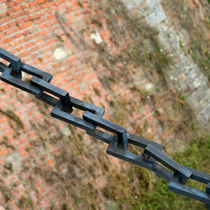 Close-up of metallic chain at Belgrade Fortress, Belgrade, Serbia