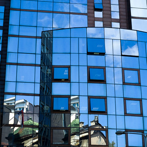 Reflection of buildings on glass wall, Belgrade, Serbia