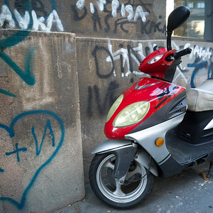 Moped parked against a wall, Belgrade, Serbia