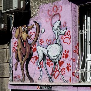 Graffiti picture of dogs on a wall, Belgrade, Serbia