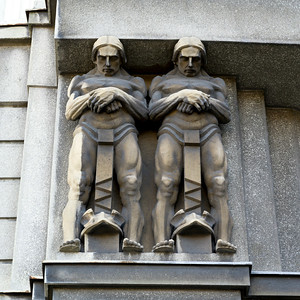 Sculptures carved on the wall of a building, Belgrade, Serbia