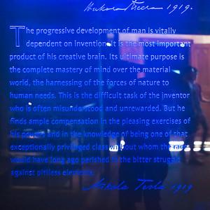 Message written on the glass in a museum, Nikola Tesla Museum, Belgrade, Serbia