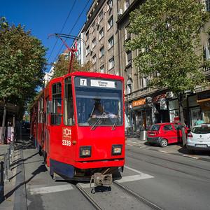 Tram on tramway, Belgrade, Serbia