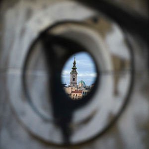 St. Michaels Cathedral seen from a hole, Belgrade, Serbia