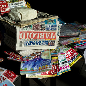 Close-up of a pile of magazines and newspapers, Belgrade, Serbia