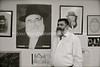 LV 343  Rabbi Menachem Barkaham with poster of his father, Rabbi Nathan Barkan